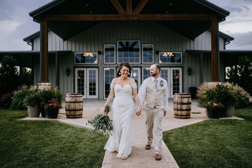 Couple by covered back porch