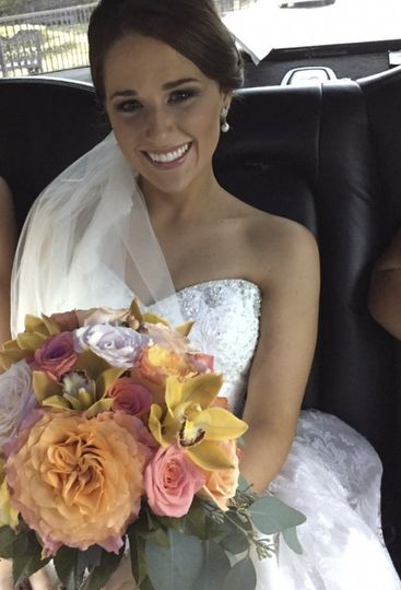 Congratulations, Brandi! You look beautiful and your bouquet is beautiful, too!