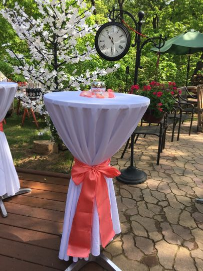 Table setup with a touch of peach