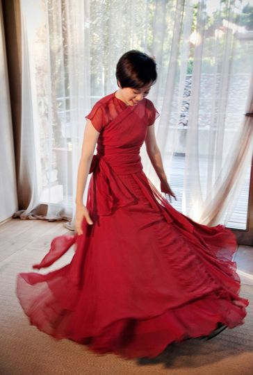 Red dress bride florence