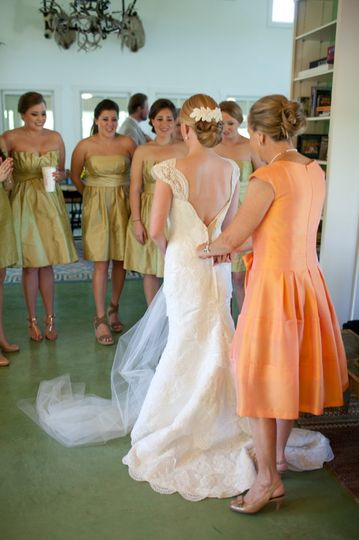 Bride, mother and bridesmaids...getting excited...