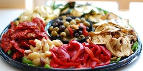 Vegetarian AntiPasti Platter with Assorted Olives and Roasted Vegetables