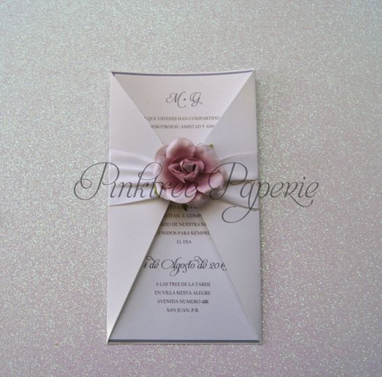 invitation with jacket and flower