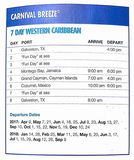 7 day western caribbean cruise from Galveston on Carnival Breeze.