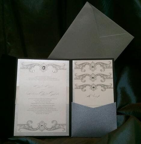 Silver pocket fold Wedding Invitations by Pretty Peacock Paperie ~ Orlando wedding invitations
