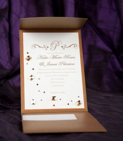 Gold rhinestone studded pocket fold Wedding Invitations by Pretty Peacock Paperie ~ Orlando wedding...