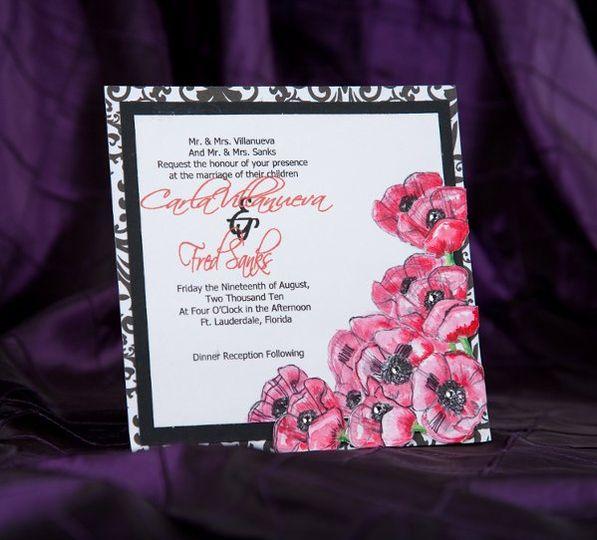 Handpainted Wedding Invitations by Pretty Peacock Paperie ~ Orlando wedding invitations