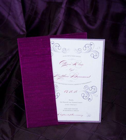 Purple Silk Wedding Invitations by Pretty Peacock Paperie ~ Orlando wedding invitations