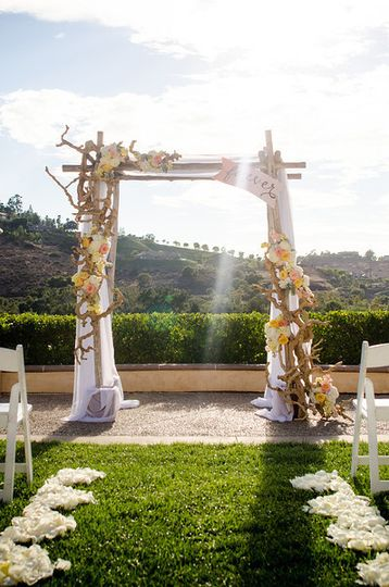 Decorated wedding arbor