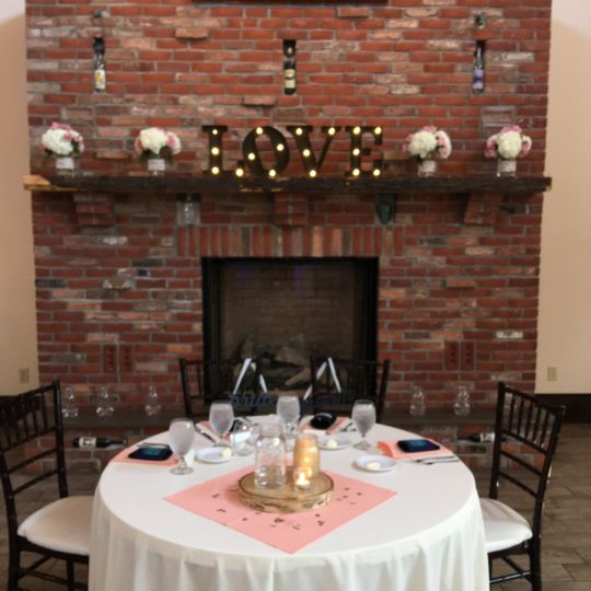 Newlyweds' table by the fire place