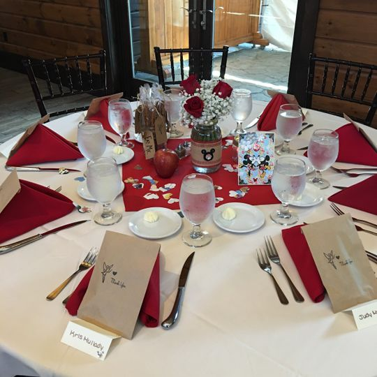 Table setting with red decor