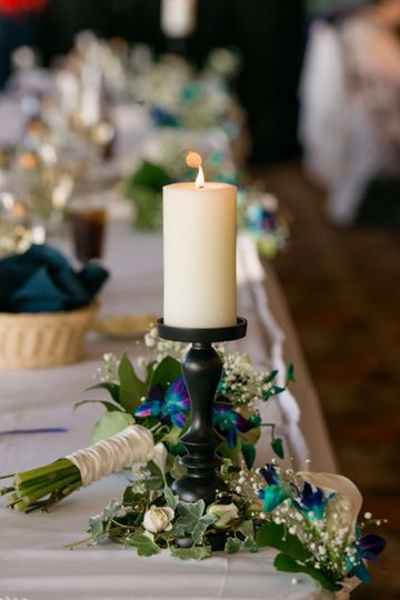 Candle light and bouquet