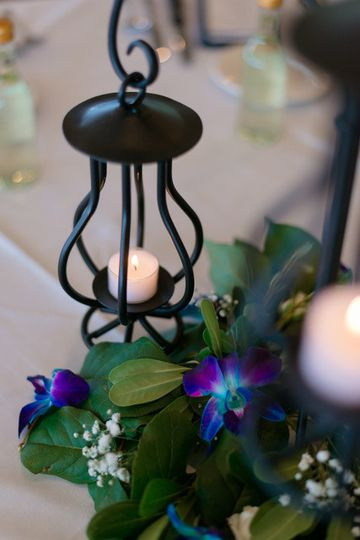 Candle and floral decor