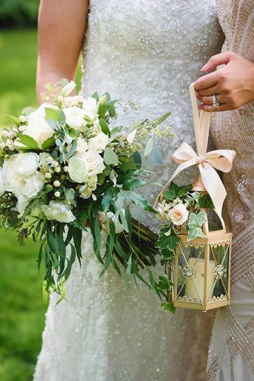Wedding bouquet and lantern
