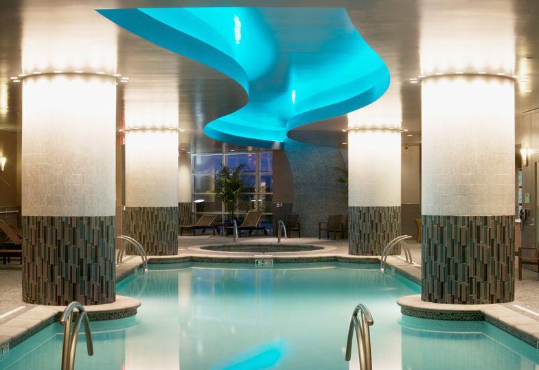 The pool outside of La Rive spa