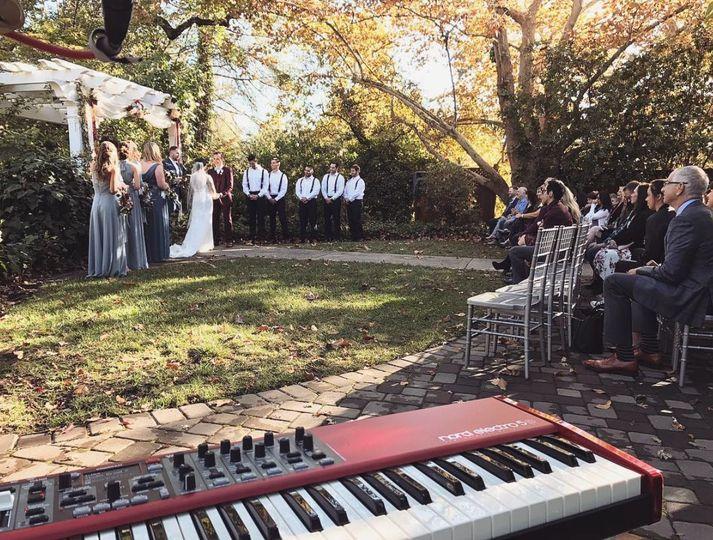 Piano setup at outdoor wedding