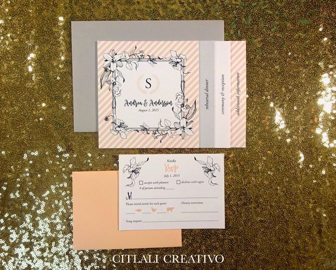 peach stripe booklet invite 1