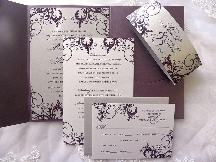 Tmx 1379452504832 0141 Filigree Plum Silver Rachel 1 Seattle, WA wedding invitation