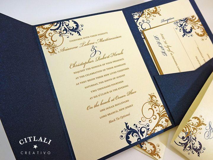 Tmx 1418922441268 0065 Filigree Navy Gold Pocket 2 Seattle, WA wedding invitation