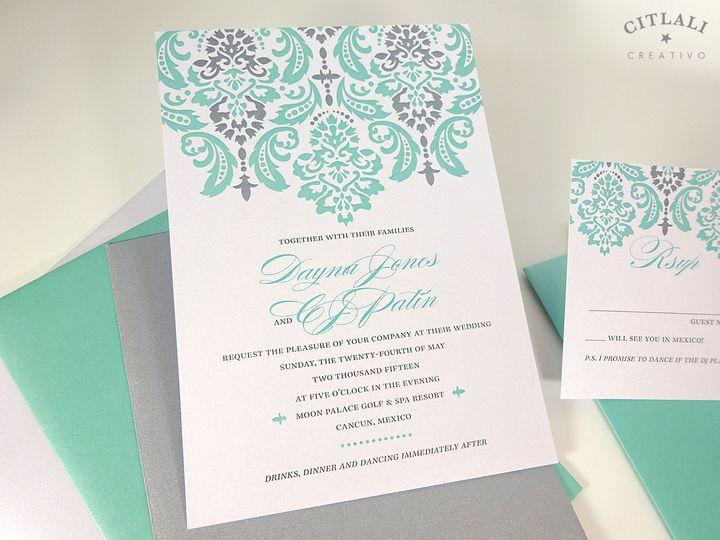 Tmx 1438109332339 02 022 Pewter Aqua Damask Lg 1 Seattle, WA wedding invitation