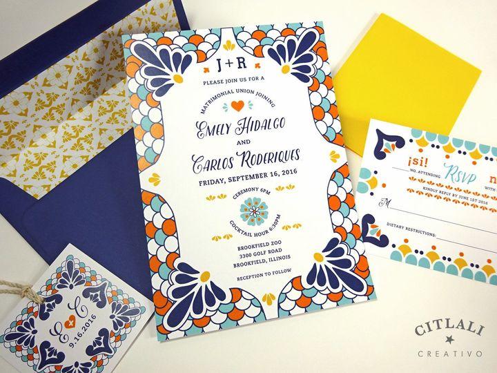 Tmx 1438109488272 02 083 Talavera Blue Invite 1 Seattle, WA wedding invitation