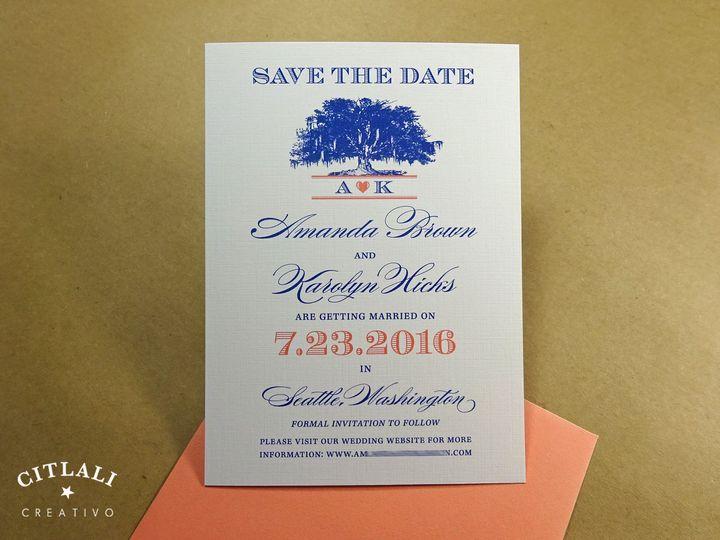 Tmx 1447795345506 1 23 Std Moss Tree Blue Coral 1 Seattle, WA wedding invitation