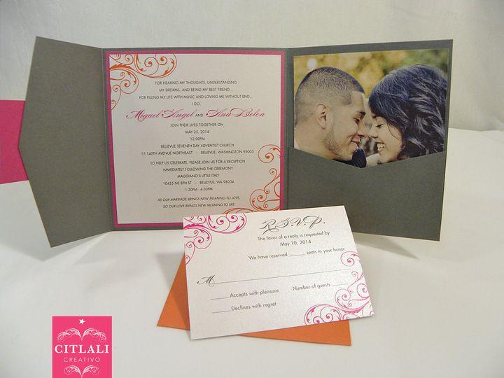 Tmx 1474941960239 368 Corner Filigree Charcoal Photo Square 3 Seattle, WA wedding invitation