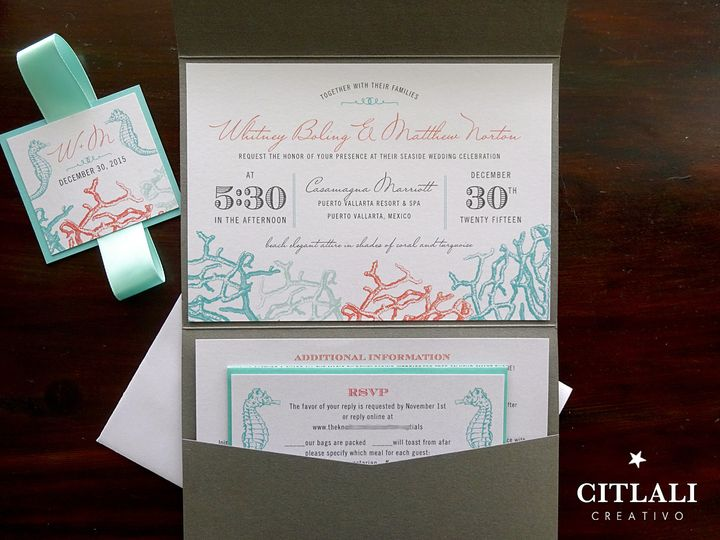 Tmx 1474942878966 0117 Aqua Pocket Coral Reef Horiz Gray Seahorse 3 Seattle, WA wedding invitation