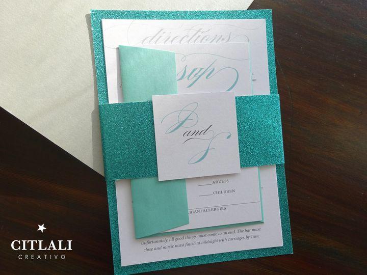 Tmx 1474942923141 0122 Glitter Aqua Fancy Script 4 Seattle, WA wedding invitation
