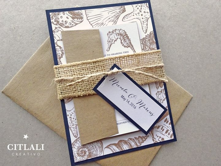Tmx 1474942947558 0123 Seahorse Handrawn Burlap 3 Seattle, WA wedding invitation