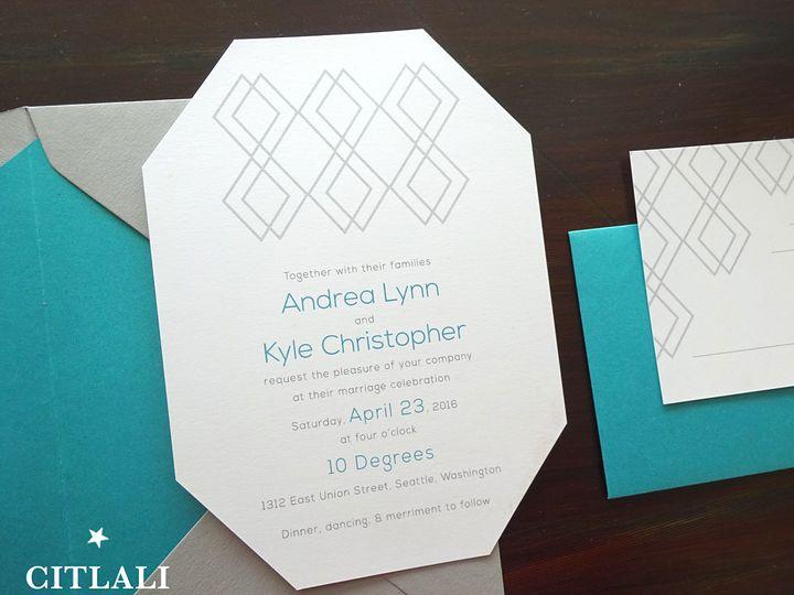 Tmx 1474943181641 0144 Diamond Die Cut Mod Mid Century Teal 2 Seattle, WA wedding invitation