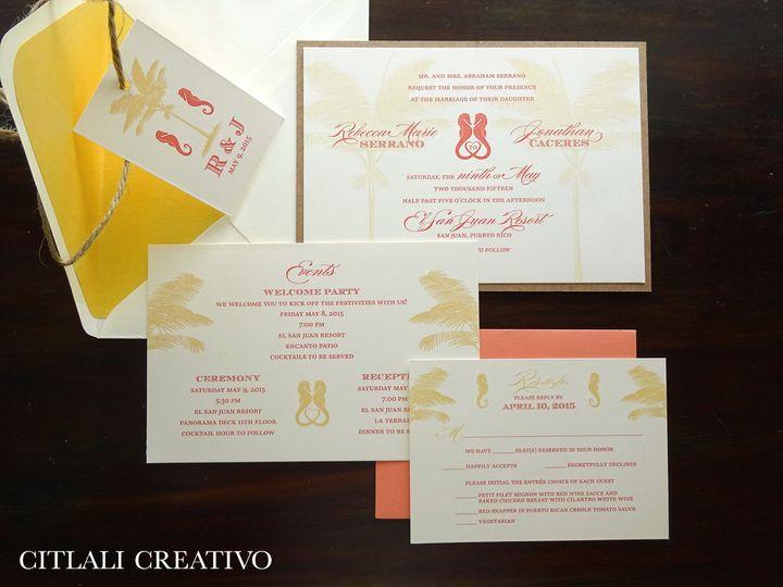 Tmx 1474943277458 0160 Palm Gold Seahorse Coral Kraft Twine 3 Seattle, WA wedding invitation