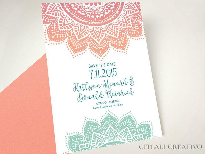 Tmx 1490726124695 1 81 Std Coral Mandala Ombre Seattle, WA wedding invitation