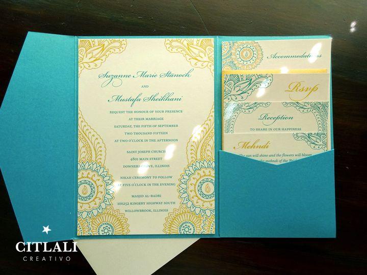 Tmx 1490727981718 0142 Henna Teal Gold Pocket 3 Seattle, WA wedding invitation