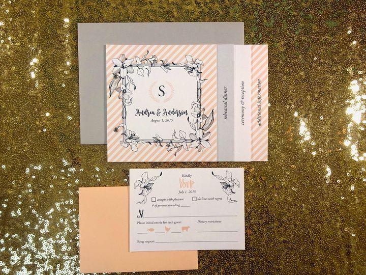 Tmx 1490728324748 0179 Peach Stripe Booklet Invite 1 Seattle, WA wedding invitation