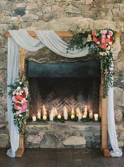 Beautiful floral arch for their ceremony.