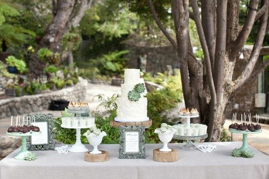 Rustic Sweets Table! Very elegant for an outside venue.