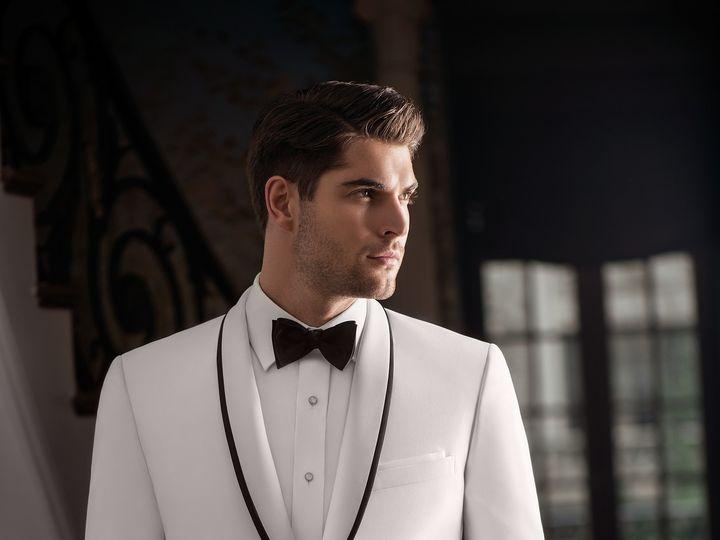 Tmx Ike Behar Slim Fit White Tuxedo With Black Trim Charles 51 122270 Ridgewood, New Jersey wedding dress