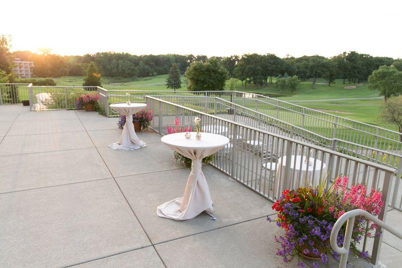 A sunset wedding reception on Red Oak Terrace