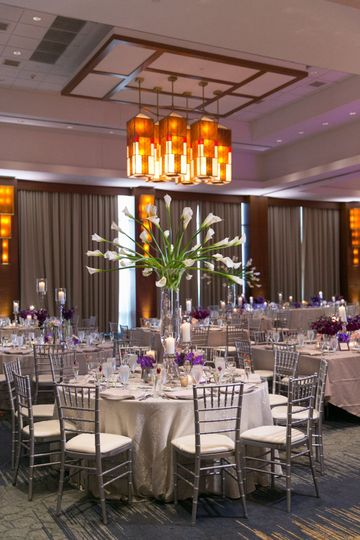 Red Oak Ballroom, set in hues of purple for Kelly & Ryan's wedding.