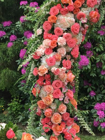 Pink, peach, coral flowers.
