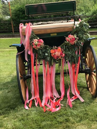 Horse buggy with florals
