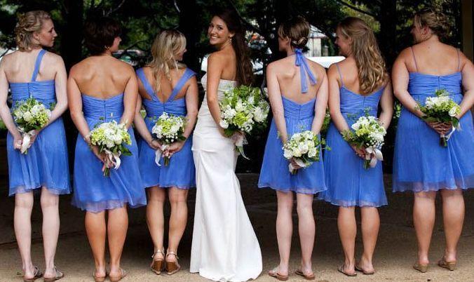 Bride with her bridemaids
