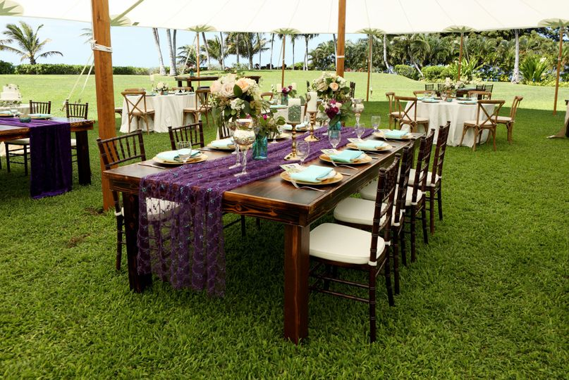 Designed and handcrafted in house-8' rustic farm table, fruitwood chiavari chairs & cushion |...