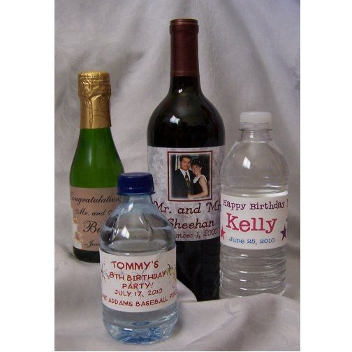 Water bottle, mini champagne or mini wine bottles with personalized labels make the perfect wedding...