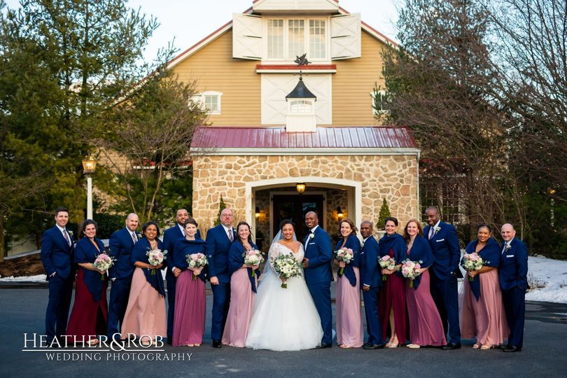 Bridal party in front of Casa