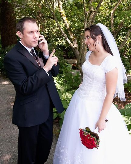 Hey, babe, just a sec, I got a call I have to take.  LDS wedding at Bellevue Temple.