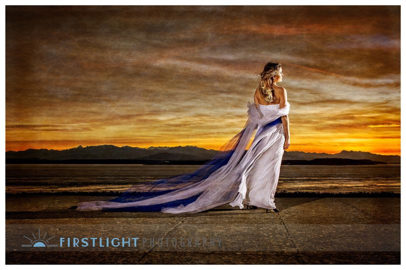 Bride at Sunset on Whidbey Island Ft Casey WA