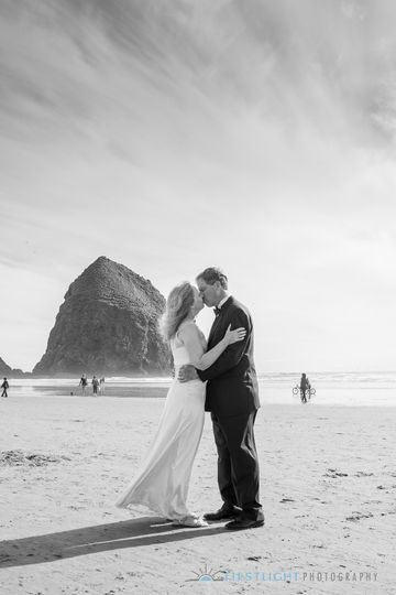 Destination wedding at Cannon Beach, OR.