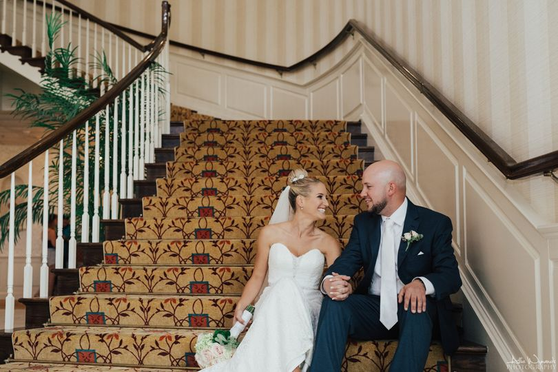 Spring Mill Manor Grand staircase. Photo by Allie Wynands Photography